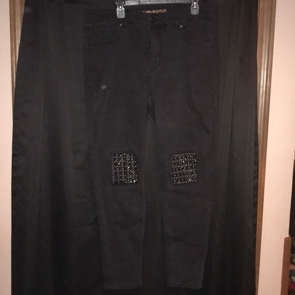 Melissa McCarthy Denim - Melissa McCarthy Black Jeans SZ 18 knee details
